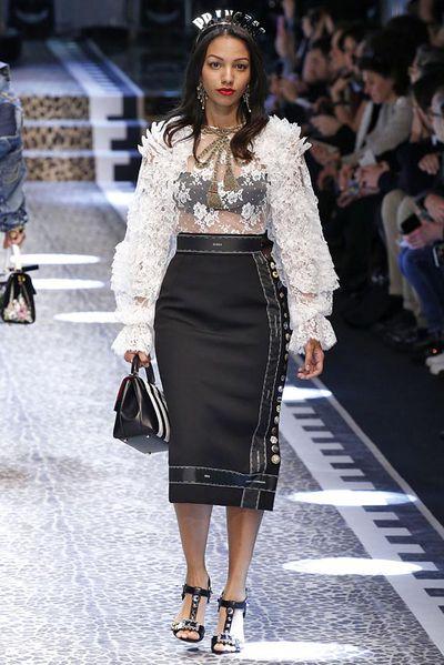 Corinne Fox at Dolce & Gabbana