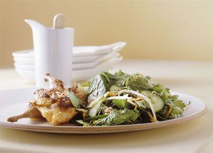 Lemon and mint quail salad