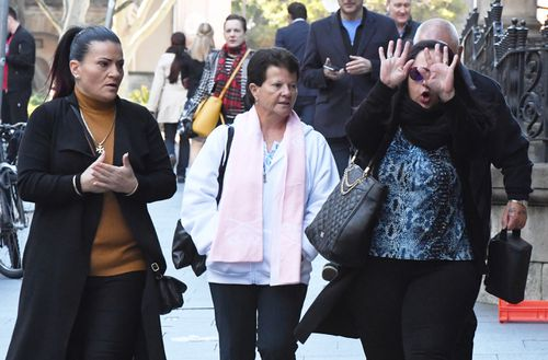 Family and supporters of Joseph Gatt leaving court, after the 28-year-old was sentenced to a maximum of 28-years. (AAP)