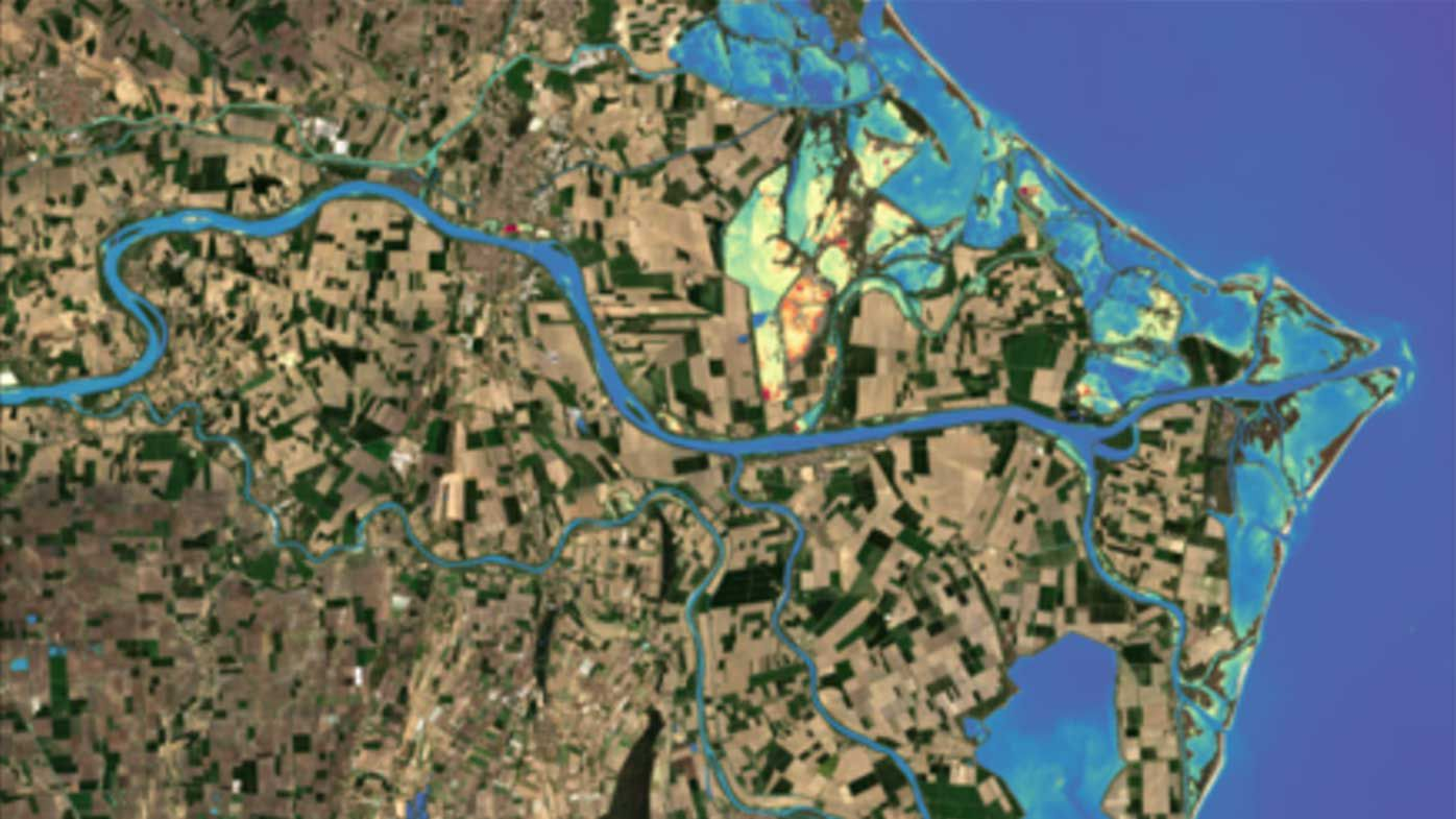 Satellite data over the Po River shows the impact of water pollution.