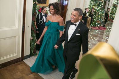<p>She was stylish at every event and particularly so at the 36th Kennedy Center Honors Gala, where she turned heads in an rich emerald green Marchesa silk chiffon Grecian gown.</p> <p>Image: Getty.</p>