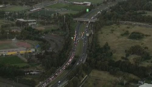 Traffic backed along the M7.