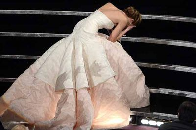 Jennifer Lawrence proved she's just like the rest of us after falling up steps (yep, we've been there) as she collected her Oscar. Better than faux tears? You bet! And she laughed it off, proving she's Hollywood's most down to earth star. We love.