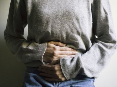 Woman suffering from bloating
