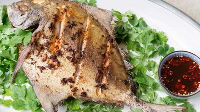 "<a href=""http://kitchen.nine.com.au/2016/12/13/11/16/deep-fried-whole-black-pomfret-with-lime-and-chilli-dressing"" target=""_top"">Deep-fried whole black pomfret with lime and chilli dressing</a><br /> <br /> <a href=""http://kitchen.nine.com.au/2016/12/13/15/58/choosing-the-best-seafood-for-christmas"" target=""_top"">RELATED: How to choose the best seafood for Christmas</a>"