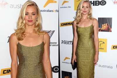 She's got the Midas touch! <i>Dexter</i> star Yvonne Strahovski wore a gold slip dress by L'Wren Scott to the awards.