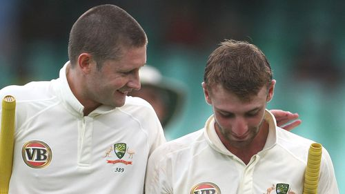 Michael Clarke with Phillip Hughes during a Test against South Africa in 2009. (Getty)
