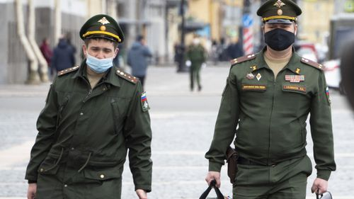 Russian officers in St Petersburg