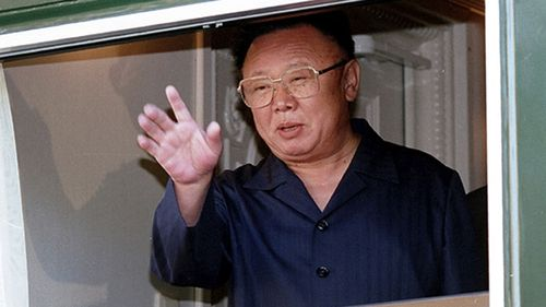 Kim Jong-il on the beloved train on that Russia expedition in 2002. Picture: AP