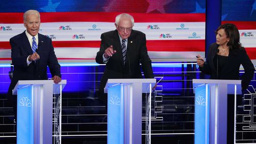 Bernie Sanders is running for president in the Democratic primary against candidates like Joe Biden and Kamala Harris.