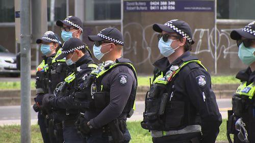 Melbourne protests police presence around CBD on day six - Saturday September 25, 2021.
