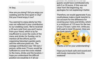 'Debt collector' bride demands money from guests the morning after the wedding