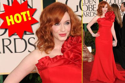 Christina looks divine as usual - we love a ranga in red!