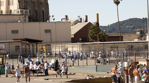 Inmates serving time at San Quentin prison workout in the yard on a warm day in September 2016. San Quentin in California is the oldest prison in the US.