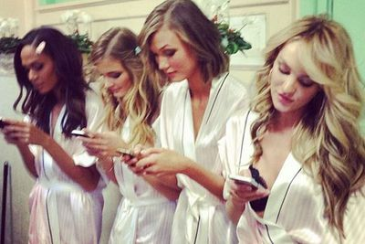 What do VS angels do backstage? Social media of course...