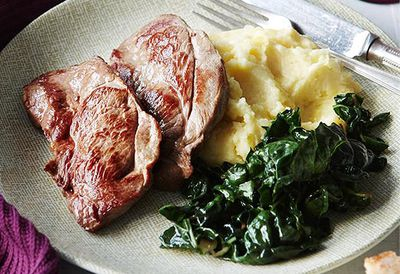 Lamb steaks with cheesy mash