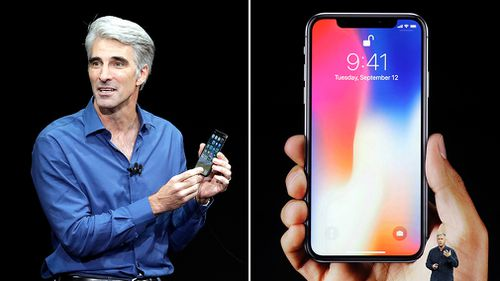 Craig Federighi, Apple's senior vice president of software engineering, discusses features of the new iPhone X. (AAP)