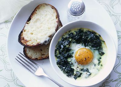 "Recipe:&nbsp;<a href=""http://kitchen.nine.com.au/2016/05/19/13/55/baked-eggs-with-creamed-spinach-and-gruyre-toasts"" target=""_top"" draggable=""false"">Baked eggs with creamed spinach and Gruy&egrave;re toasts<br /> </a>"