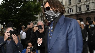 Johnny Depp arrives at the High Court in London, Thursday, July 9, 2020