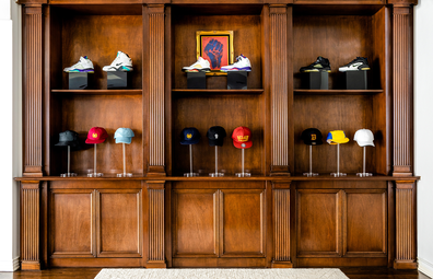 Airbnb Fresh Prince Bel-Air mansion shoe and hat display cabinet