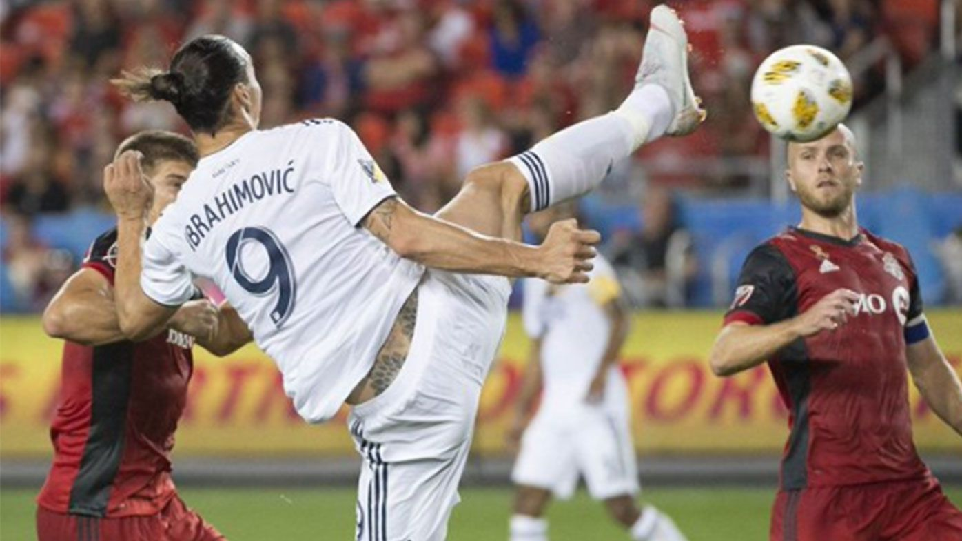 Zlatan Ibrahimovic nets incredible karate-chop goal to join Messi and Ronaldo with 500 career goals
