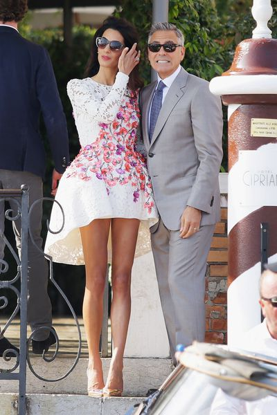 Amal Clooney in Giambattista Valli at her September 2014 wedding celebrations to George Clooney in Lake Como, Italy