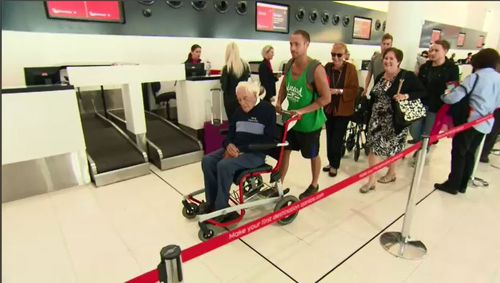 Flanked by family members, the 104-year-old ecologist is travelling to Europe to complete his end-of-life plan at a voluntary euthanasia organisation in Basel. Picture: 9NEWS.