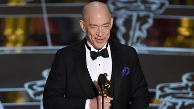 <b>Best Supporting Actor:</b><br><br>J.K. Simmons accepts the Oscar for his performance in 'Whiplash'. (AAP)