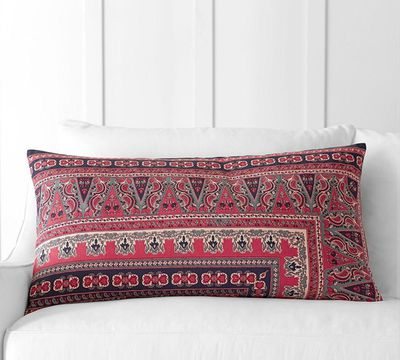 "Isabella Kalimkari Lumbar Cushion Cover, $30.95, <a href=""http://www.potterybarn.com.au/isabella-kalimkari-print-lumbar-pillow-cover"" target=""_blank"">Pottery Barn</a>"