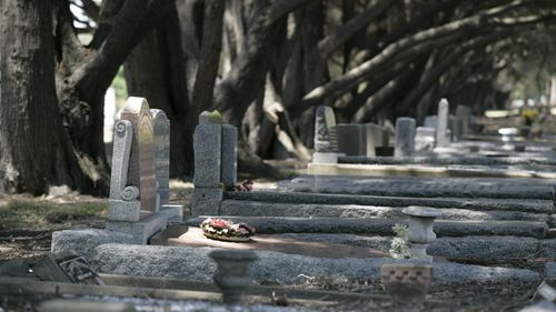 Tombstones at Fawkner cemetery.