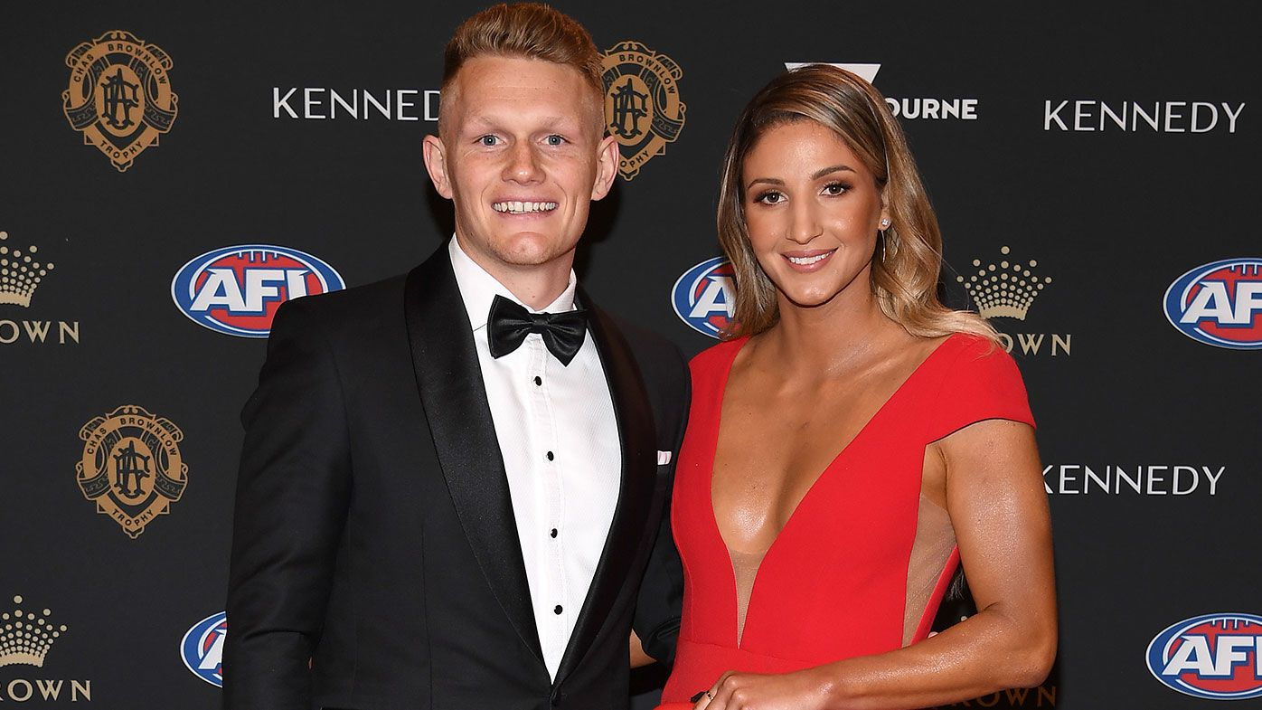 Adam Treloar and Kim Ravaillion attend the 2019 Brownlow Medal