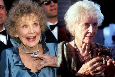 "Weird fact #10: Gloria Stuart may have looked about 120 when she played the ""old"" Rose, but a lot of it was make-up! In fact, Gloria was only 87 when the film was shot. My, she scrubs down well...<P>"