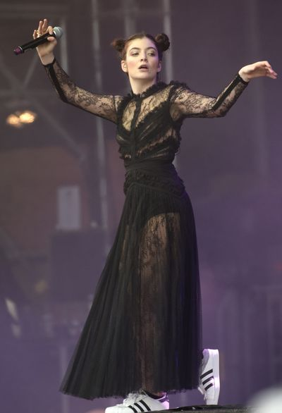 "<p>New Zealand singer <a href=""https://style.nine.com.au/2017/08/07/11/30/lorde-handsmaids-tale-trend"" target=""_blank"">Lorde </a>achieved international fame as a fashion underdog singing about <em>Royals</em> but recent appearances from this unique talent promoting her latest album <em>Melodrama</em> suggest a style shift.</p> <p>We have already clocked her <em><a href=""https://style.nine.com.au/2017/08/07/11/30/lorde-handsmaids-tale-trend"" target=""_blank"">Handmaid's Tale</a></em> cloak from New York label Vaquera plus Jacquemus and Zandra Rhodes' ensembles in the video for Perfect Places but at San Francisco's Outside Lands Festival Lorde took another aesthetic leap forward.</p> <p>The black lace dress from Elie Saab that Lorde performed in touched on her Gothic roots but was another clear signal that she's exploring her glamorous side.</p> <p>While the singer once made slouchy tracksuits and athletic tops her signature look, star stylist Karla Welch, who works with Justin Bieber, Katy Perry, Karlie Kloss and <a href=""http://style.nine.com.au/2017/01/10/09/58/ruth-negga-louis-vuitton-dress"" target=""_blank"">Ruth Negga</a>, has given the intense 20-year-old an introduction to luxury labels.</p> <p>While it's exciting watch Lorde's style evolution, we still take some glee in seeing that she kept her Adidas sneakers on beneath the feminine dress.<br> <br> <br> </p>"