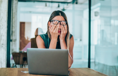 Woman stressed in the workplace