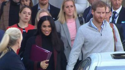 Prince Harry and Meghan Markle arrive at Sydney International Airport, Monday October 15 2018