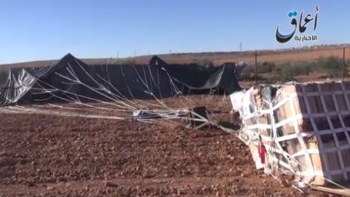 A still from the video purporting to show the recovered US airdrop. (YouTube)