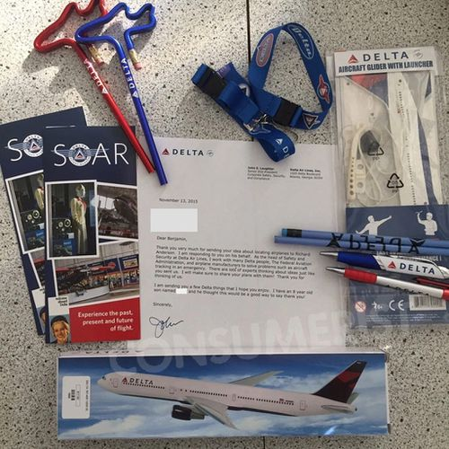 Ben was excited to receive a pile of merchandise from Delta Airlines as well as two model planes. (Consumerist)