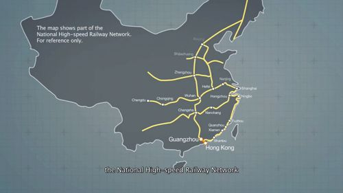 The new rail system is expected to cut travel times between Hong Kong and China. Image: 9News