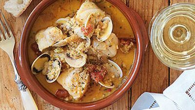 """Recipe:<a href=""""http://kitchen.nine.com.au/2016/05/19/13/19/fish-clam-stew-with-picada"""" target=""""_top"""">Fish & clam stew with picada</a>"""