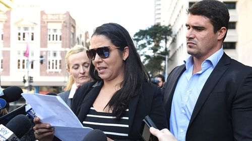 The former house-mate of Fabiana Palhares, Bianca Goeuveia (left), gives a statement outside the Supreme Court in Brisbane today. Picture: AAP