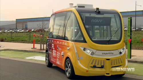 The first driverless bus will share the roads with regular traffic in Adelaide. Picture: Nine