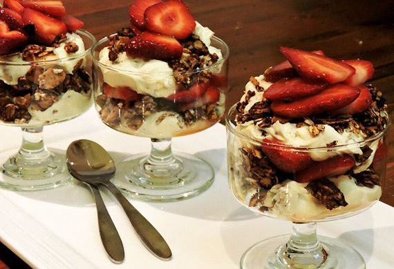 Bree May's carob cranachan with whisky strawberries
