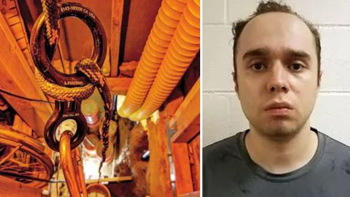 Daniel Beckwitt, 27, of Bethesda, Maryland, and a photo of the 'daisy chain' of cables in the tunnel system (Montgomery County Court)