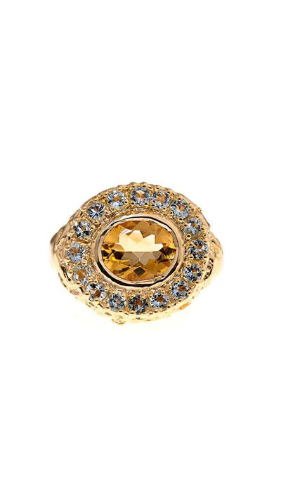 """<a href=""""http://www.matchesfashion.com/product/216699"""">Citrine &amp; Amethyst Gold-Plated Ring, $763, Jade Jagger</a>"""