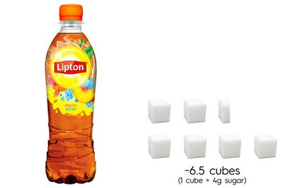 Lipton Peach Ice Tea: 26.5g sugar per 500ml bottle
