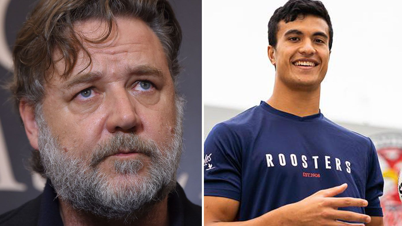 Russell Crowe has opened up on Joseph Suaalii's move to the Roosters. (Getty/Twitter)