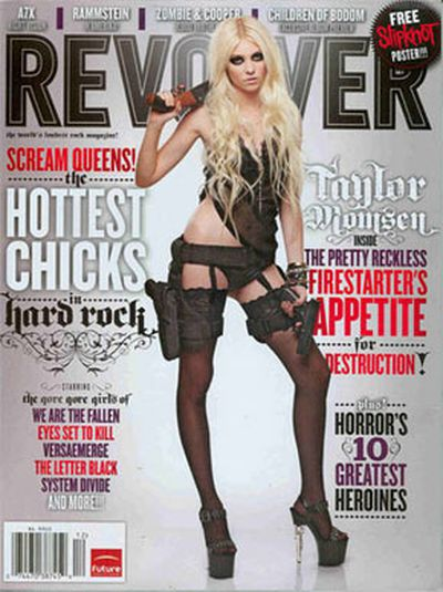 17-year-old Taylor Momsen raised similar concerns with her saucy, gun-toting shoot for <b><i>Revolver Magazine</i></b>.