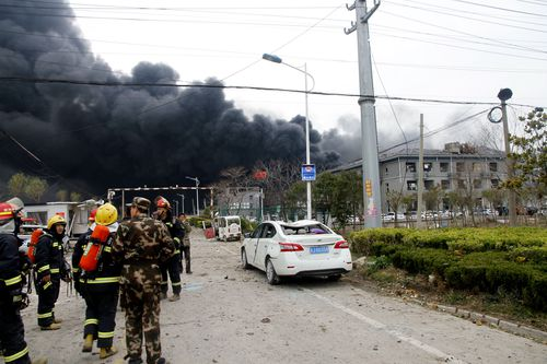 Rescuers work near the site of an explosion at a chemical industrial park in Xiangshui county, in east China's Jiangsu province, 21 March 2019. The blast has killed 44 people so far, with dozens injured. EPA/STRINGER CHINA OUT