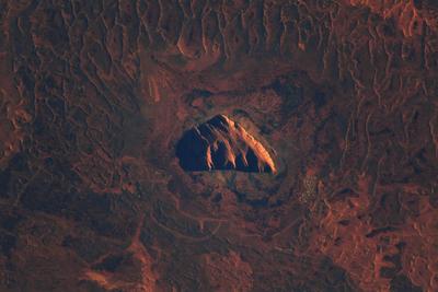 Uluru as seen from orbit