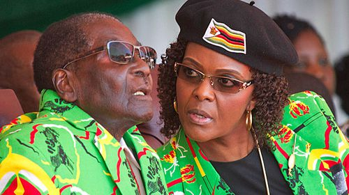 Zimbabwe ruler Robert Mugabe and his wife Grace,  who is set to leave the country under a deal struck with the country's military. (Photo: AP).